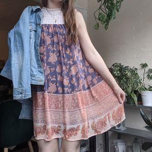 Xhilaration Sleeveless Lace Shift Dress Boho Med